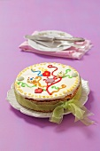 Sponge cake with springtime decoration