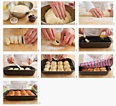 Buchteln (baked, sweet yeast dumpling) being prepared