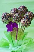 Cake pops with sugar strands