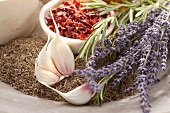Spices, garlic, lavender and rosemary