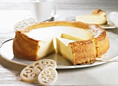 Cheesecake with pieces removed