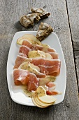 Bacon and apple carpaccio with caraway vinaigrette