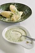 Canederli con la ricotta (quark dumplings in herb sauce)