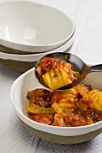 Malloreddus al sugo di salsicce (dough dumplings with a sausage sauce)
