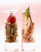 Squid salad and caponata in glasses