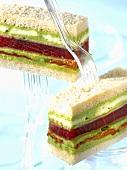 Tuna, mozzarella, basil and tomato confit club sandwich