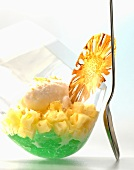 Mint jelly with pineapple and lemon sorbet