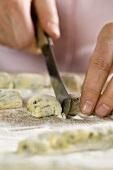Raw stinging nettle gnocchi