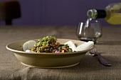 Lenticchie con la mozzarella (lentil salad with mozzarella)