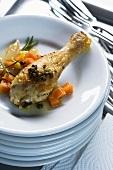 Stufato di pollo ai capperi croccanti (braised spring chicken)