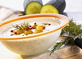 Cold kefir soup with cucumbers and pink pepper