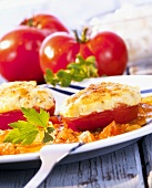 Tomatoes au gratin filled with quark