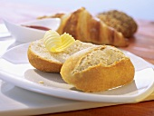 Frozen bread rolls with butter