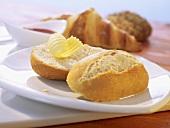 Frozen bread rolls with butter
