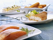 Fresh salmon fillet and various fish dishes