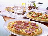 Various frozen pizzas