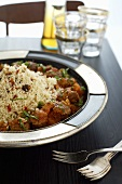 Lamb meatballs with tomato sauce and couscous