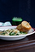 Spinach and risoni soup with Gruyere