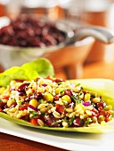 Bean and barley salad with sweetcorn