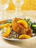 Boneless pork chop with peaches and rice