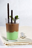 Chocolate and mint mousse with chocolate sticks