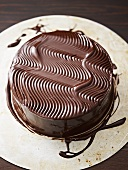Truffle cake with chocolate icing