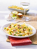 Farfalle with sweetcorn, peas and diced ham