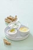 Three dips (curry yogurt, tofu sauce, tzatziki) and barley bread