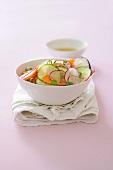 Vegetable salad with bran and vinaigrette
