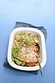 A vegetable bake with red mullet and bran