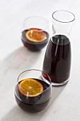 Wine with orange slices