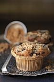 A broken blueberry muffin