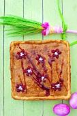 Mazurek (Polish Easter cake) with honey and almonds