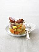 Morteau sausage in vegetable soup