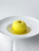 Curried apple drizzled with white wine Calvados jelly
