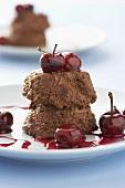 Quick chocolate ice cream with cherries