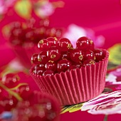 Red currants in muffin cups