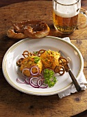 Obatzda with pretzels and beer