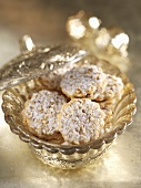 Almond cookies in a crystal bowl