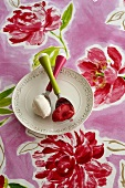 Plate with strawberry sorbet and vanilla ice cream on a summery table cloth with flower pattern