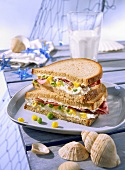 Sandwich with trout cream and vegetables