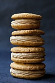 Stack of whoopie pies with nut cream filling