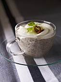 Mushroom soup with a layer of cream