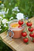 Tomato cream in a preserving jar