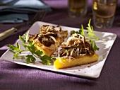 Slices of polenta with mushrooms