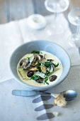 Mussel soup with spinach, fennel and young garlic
