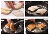 Preparing walleye fillet with toast