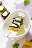 Eggplant-sheep cheese kebabs with mint