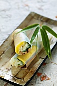 Vietnamese spring rolls with tofu and mango