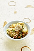 Peanut coconut Risotto with grilled turbot